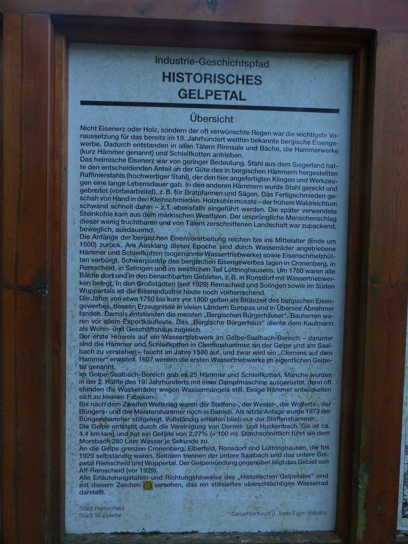 Infotafel historisches Gelpetal
