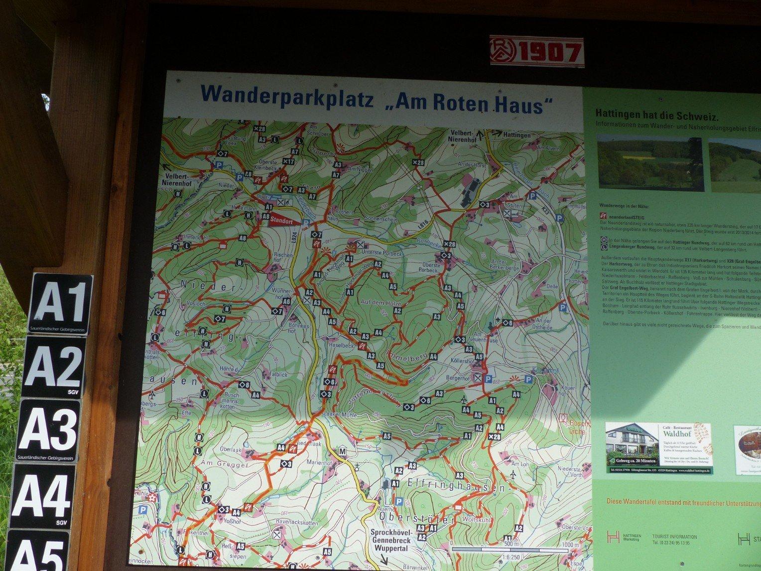 Wanderkarte Elfringhauser Schweiz